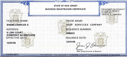 NJ Business Certificate